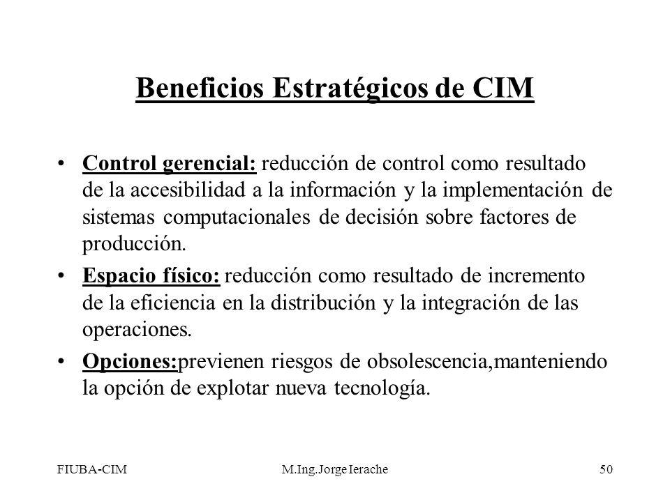 FIUBA-CIMM.Ing.Jorge Ierache50 Beneficios Estratégicos de CIM Control gerencial: reducción de control como resultado de la accesibilidad a la informac