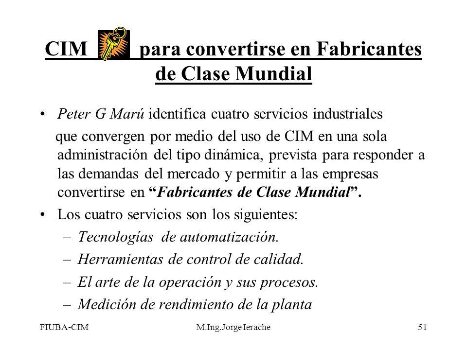 FIUBA-CIMM.Ing.Jorge Ierache51 CIM para convertirse en Fabricantes de Clase Mundial Peter G Marú identifica cuatro servicios industriales que converge