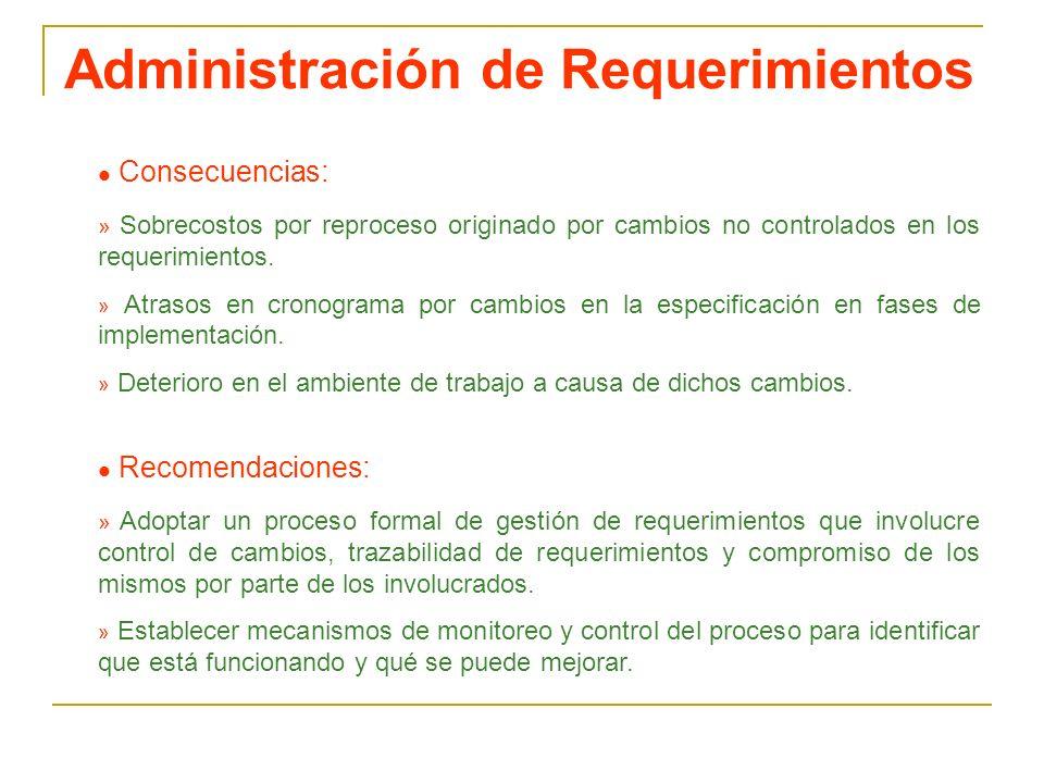 Administración de Requerimientos l Consecuencias: » Sobrecostos por reproceso originado por cambios no controlados en los requerimientos. » Atrasos en