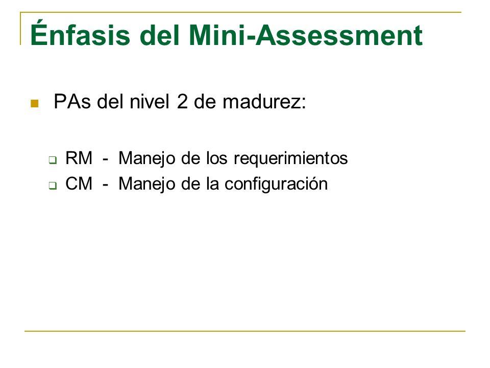 Énfasis del Mini-Assessment PAs del nivel 2 de madurez: RM - Manejo de los requerimientos CM - Manejo de la configuración