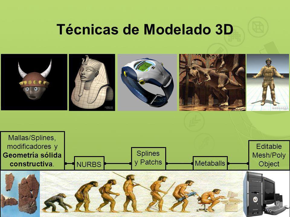 Técnicas de Modelado 3D NURBS Splines y Patchs Metaballs Mallas, modificadores y Geometría sólida constructiva.
