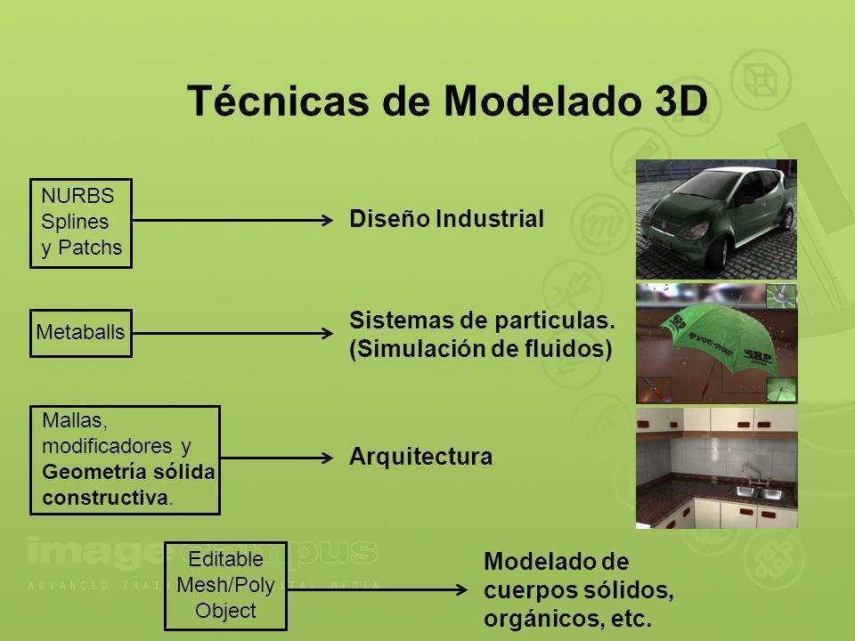Técnicas de Modelado 3D NURBS Splines y Patchs Metaballs Mallas, modificadores y Geometría sólida constructiva. Editable Mesh/Poly Object Diseño Indus