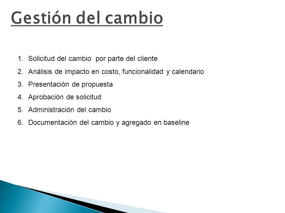 Gestión del cambio 1.Solicitud del cambio por parte del cliente 2.Análisis de impacto en costo, funcionalidad y calendario 3.Presentación de propuesta