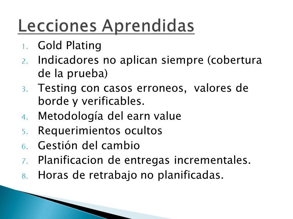 Lecciones Aprendidas 1. Gold Plating 2. Indicadores no aplican siempre (cobertura de la prueba) 3. Testing con casos erroneos, valores de borde y veri