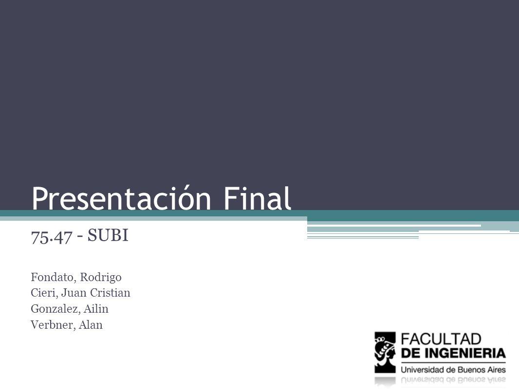 Presentación Final 75.47 - SUBI Fondato, Rodrigo Cieri, Juan Cristian Gonzalez, Ailin Verbner, Alan