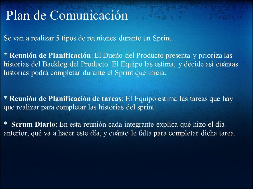 Plan de Comunicación Se van a realizar 5 tipos de reuniones durante un Sprint. * Reunión de Planificación: El Dueño del Producto presenta y prioriza l