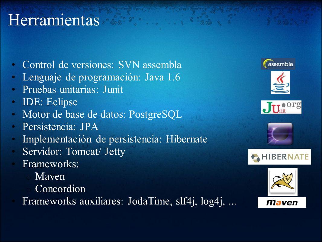 Herramientas Control de versiones: SVN assembla Lenguaje de programación: Java 1.6 Pruebas unitarias: Junit IDE: Eclipse Motor de base de datos: Postg