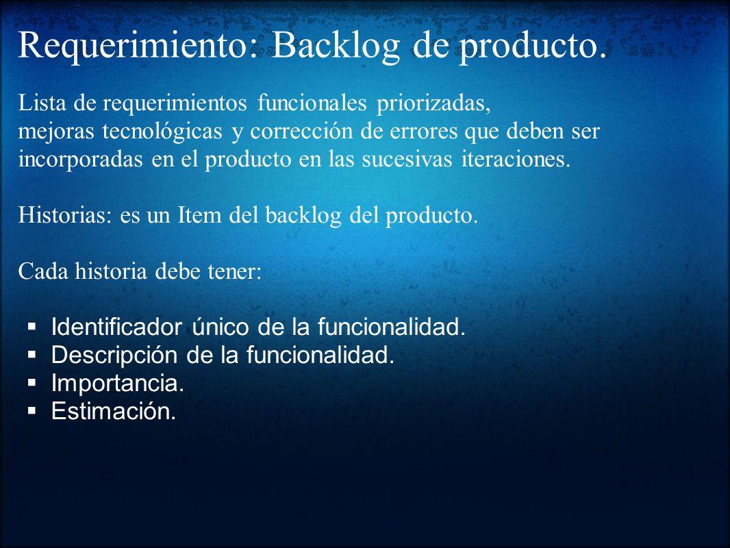Requerimiento: Backlog de producto. Lista de requerimientos funcionales priorizadas, mejoras tecnológicas y corrección de errores que deben ser incorp