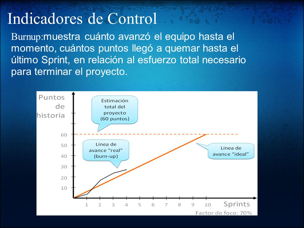 Burndown chart: Para llevar un control dentro de cada Sprint del proyecto.