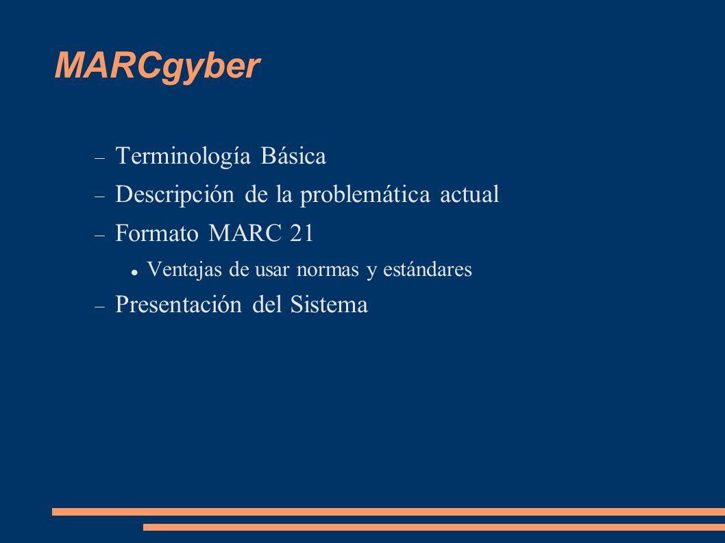 MARCgyber Terminología Básica Descripción de la problemática actual Formato MARC 21 Ventajas de usar normas y estándares Presentación del Sistema