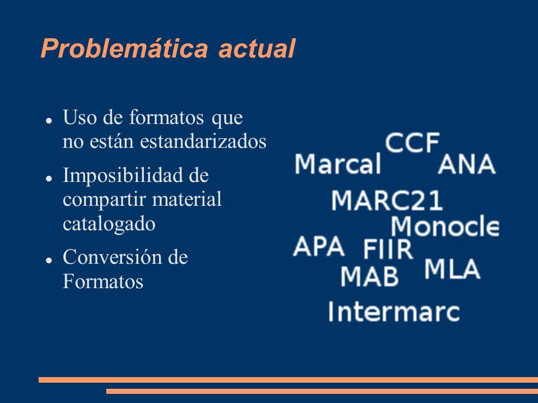 MARC 21: Formatos Formatos de MARC 21 Formato para Datos Bibliográfico Formato para Datos de Autoridad Formato para Datos de Existencias Formato para Datos de Clasificación Formato para Datos de la Comunidad http://www.loc.gov/marc/