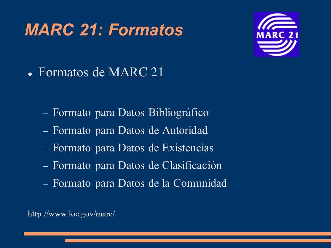 MARC 21: Formatos Formatos de MARC 21 Formato para Datos Bibliográfico Formato para Datos de Autoridad Formato para Datos de Existencias Formato para