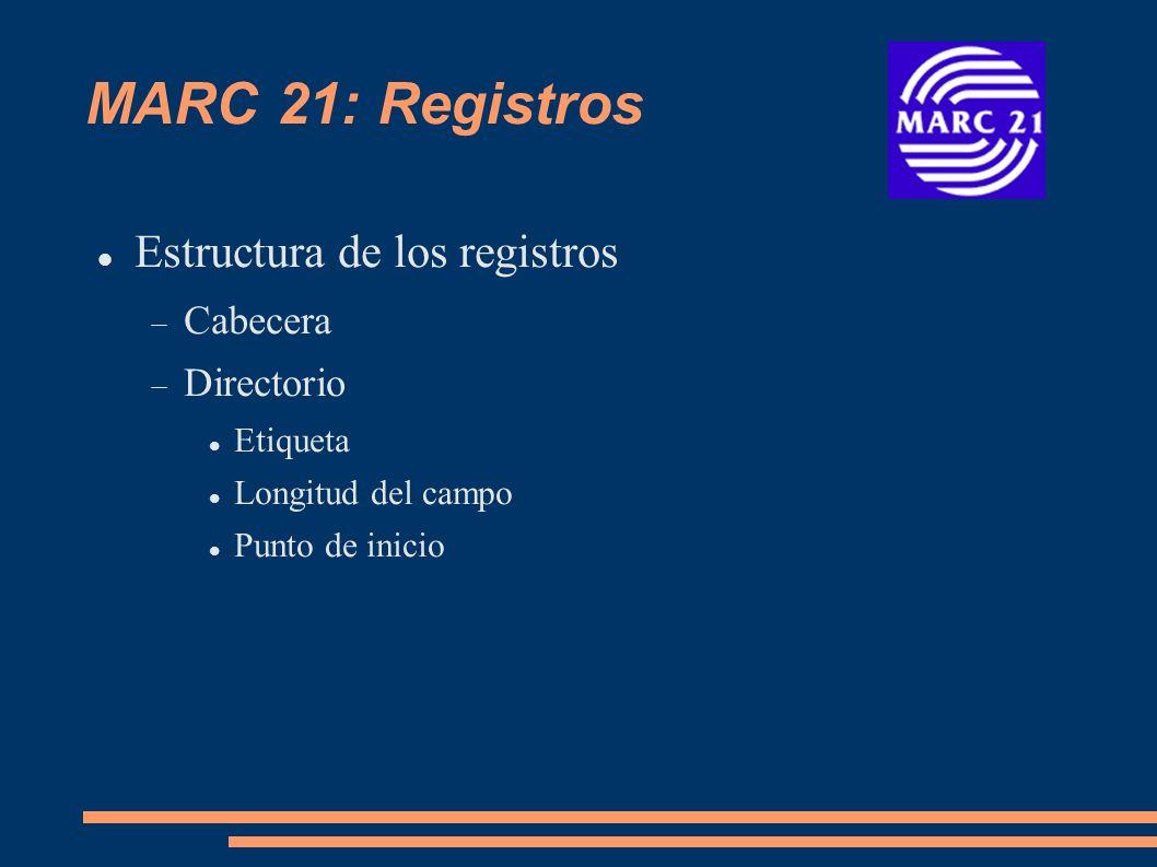 MARC 21: Registros Estructura de los registros Cabecera Directorio Etiqueta Longitud del campo Punto de inicio