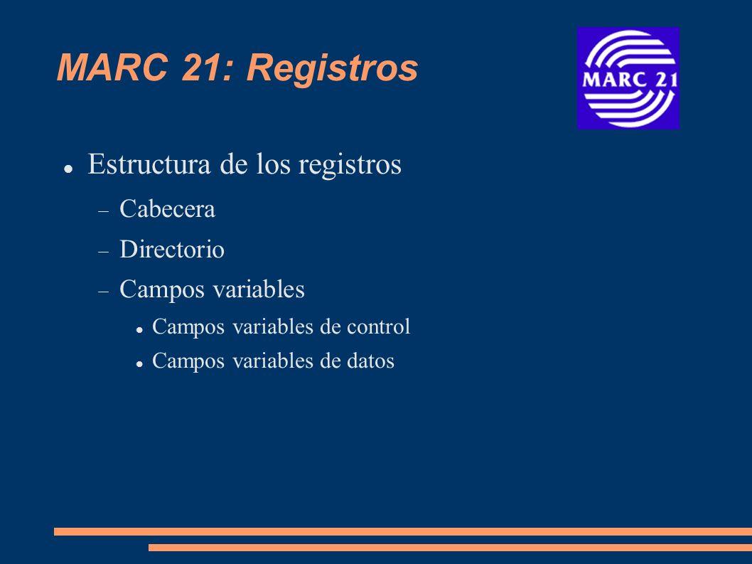 MARC 21: Registros Estructura de los registros Cabecera Directorio Campos variables Campos variables de control 00X Campos variables de datos 01X-8XX