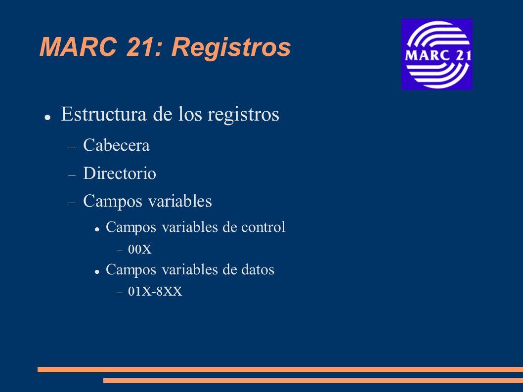 Campos Variables de datos 0XX Información de control, números de identificación y clasificación, etc.