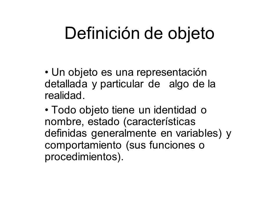 Definición de objeto Un objeto es una representación detallada y particular de algo de la realidad. Todo objeto tiene un identidad o nombre, estado (c