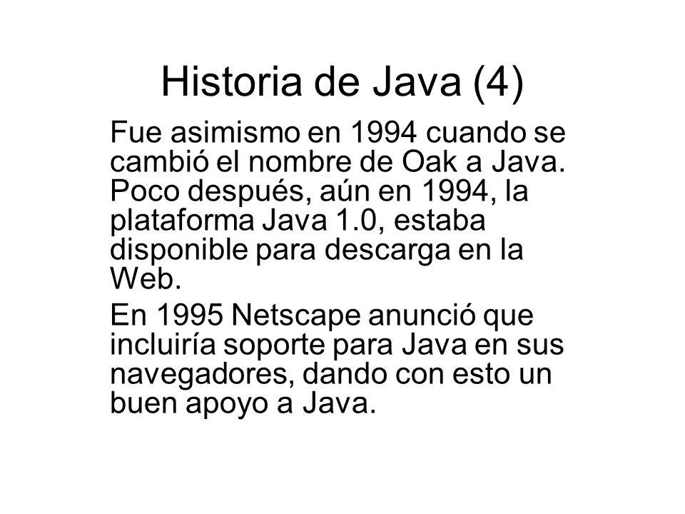 Historia de Java (4) Fue asimismo en 1994 cuando se cambió el nombre de Oak a Java. Poco después, aún en 1994, la plataforma Java 1.0, estaba disponib