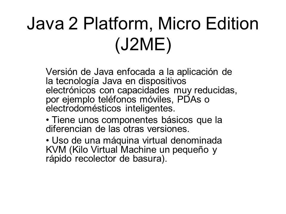 Java 2 Platform, Micro Edition (J2ME) Versión de Java enfocada a la aplicación de la tecnología Java en dispositivos electrónicos con capacidades muy