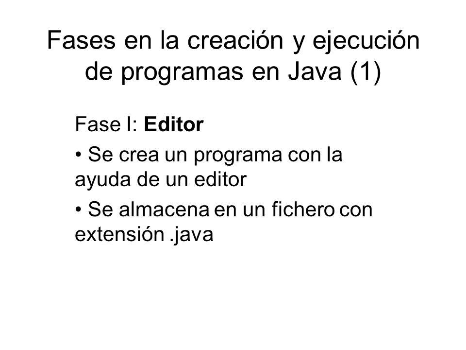 Fases en la creación y ejecución de programas en Java (1) Fase I: Editor Se crea un programa con la ayuda de un editor Se almacena en un fichero con e