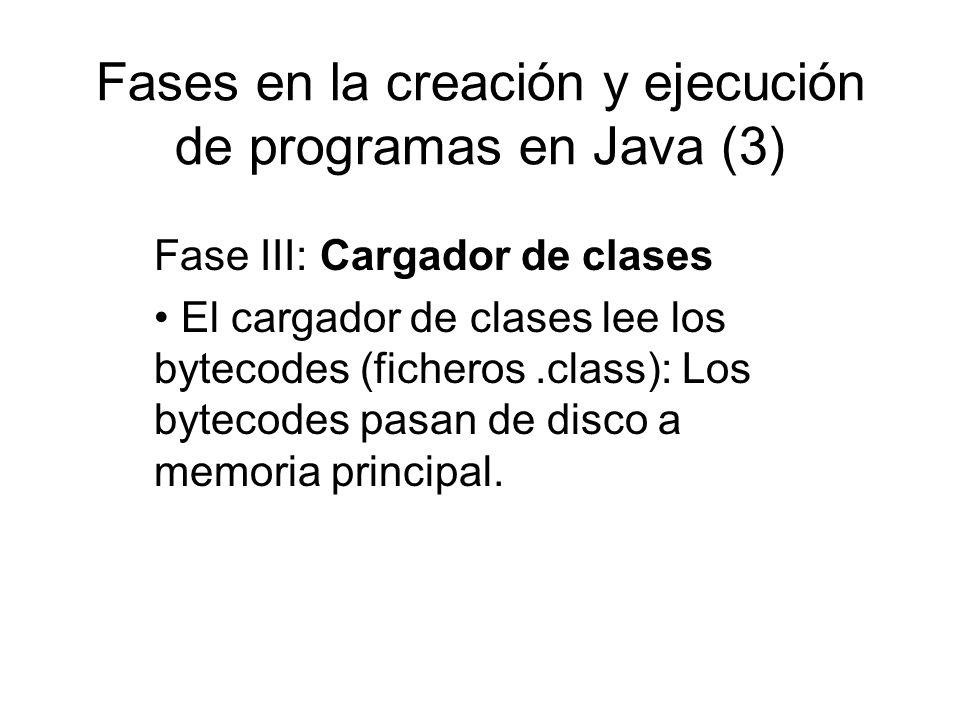 Fases en la creación y ejecución de programas en Java (3) Fase III: Cargador de clases El cargador de clases lee los bytecodes (ficheros.class): Los b
