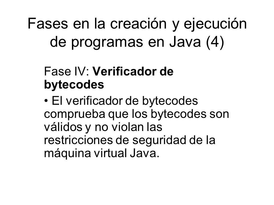Fases en la creación y ejecución de programas en Java (4) Fase IV: Verificador de bytecodes El verificador de bytecodes comprueba que los bytecodes so