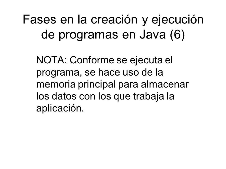 Fases en la creación y ejecución de programas en Java (6) NOTA: Conforme se ejecuta el programa, se hace uso de la memoria principal para almacenar lo