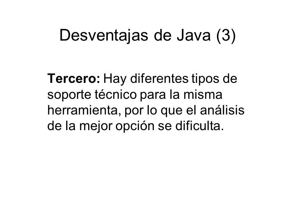 Desventajas de Java (3) Tercero: Hay diferentes tipos de soporte técnico para la misma herramienta, por lo que el análisis de la mejor opción se dific
