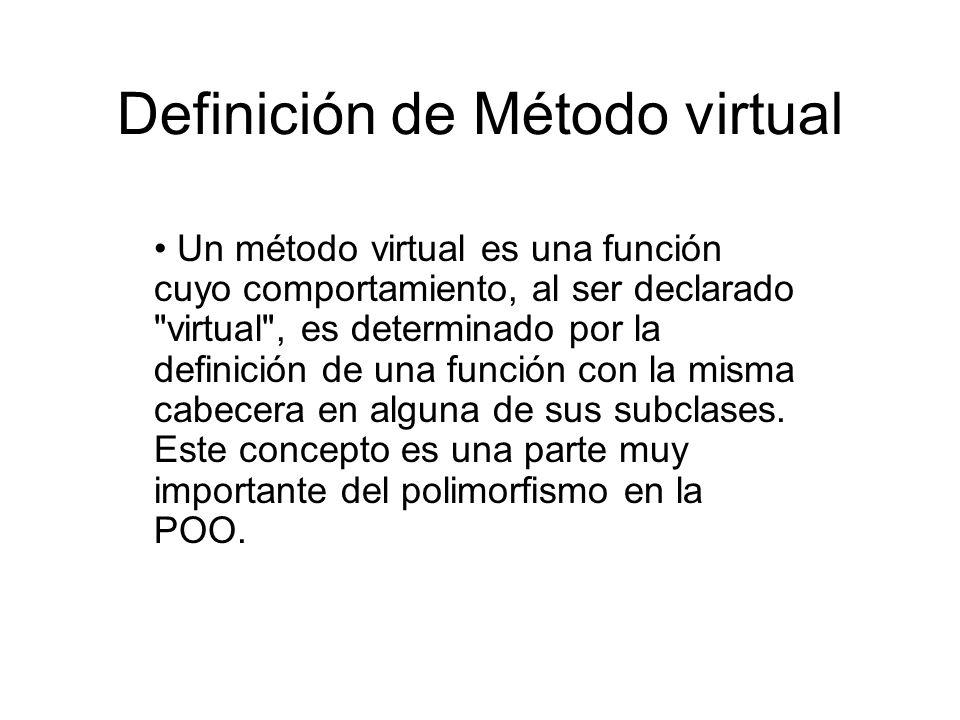 Definición de Método virtual Un método virtual es una función cuyo comportamiento, al ser declarado