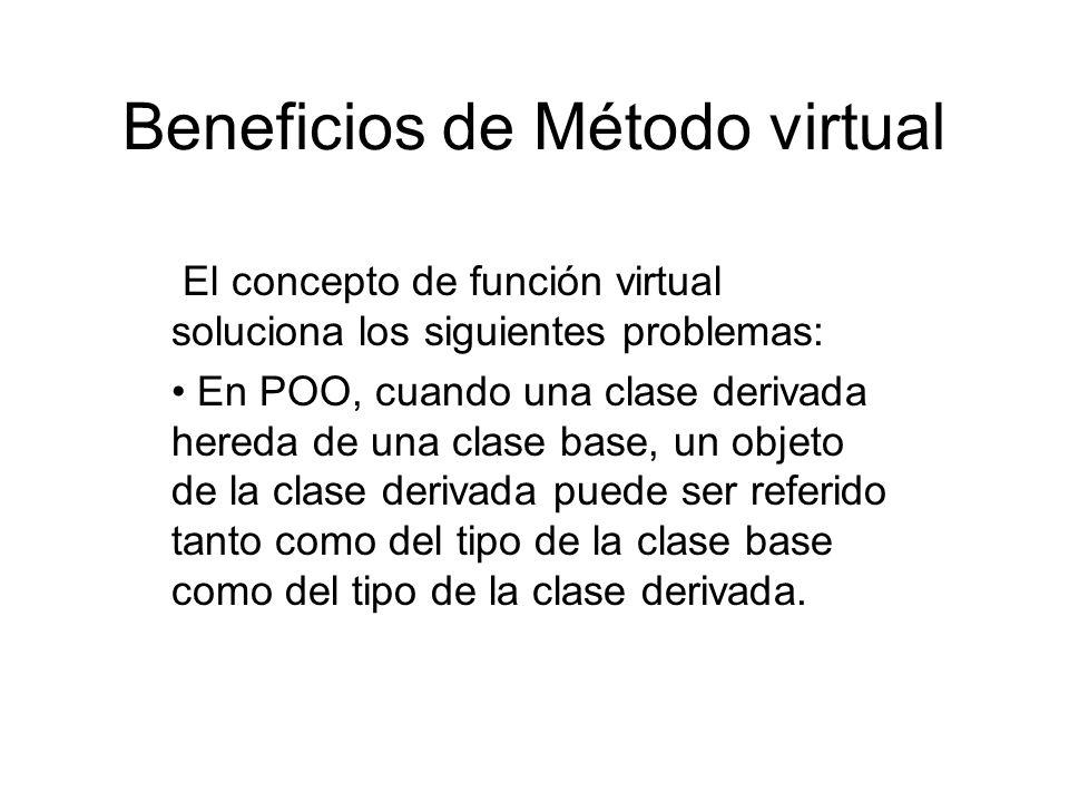Beneficios de Método virtual El concepto de función virtual soluciona los siguientes problemas: En POO, cuando una clase derivada hereda de una clase