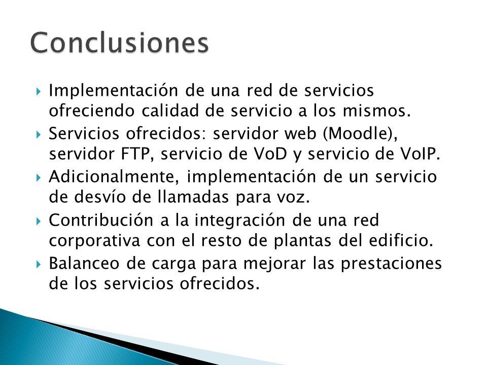 Implementación de una red de servicios ofreciendo calidad de servicio a los mismos. Servicios ofrecidos: servidor web (Moodle), servidor FTP, servicio