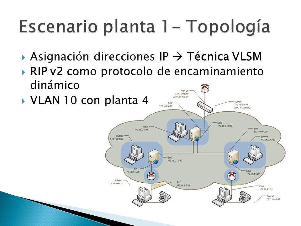 Asignación direcciones IP Técnica VLSM RIP v2 como protocolo de encaminamiento dinámico VLAN 10 con planta 4