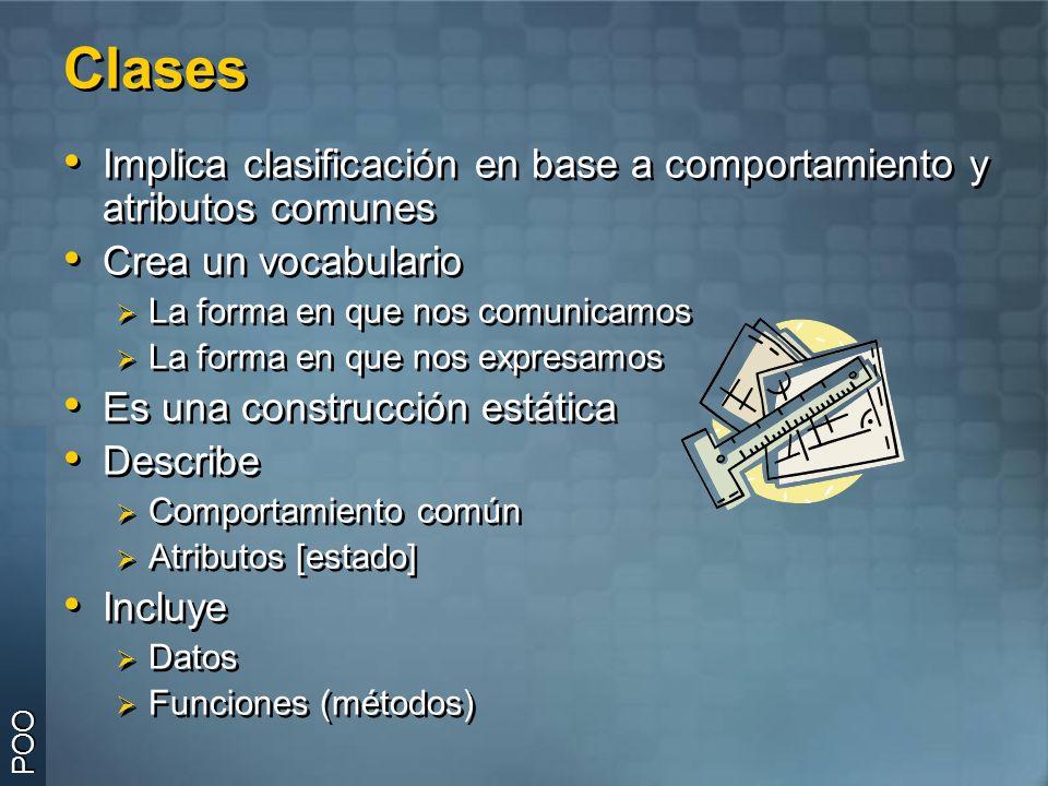 ClasesClases Clase: es la definición de las características de un determinado tipo de objeto.