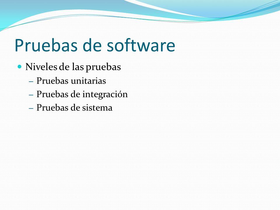 Pruebas de software Niveles de las pruebas – Pruebas unitarias – Pruebas de integración – Pruebas de sistema