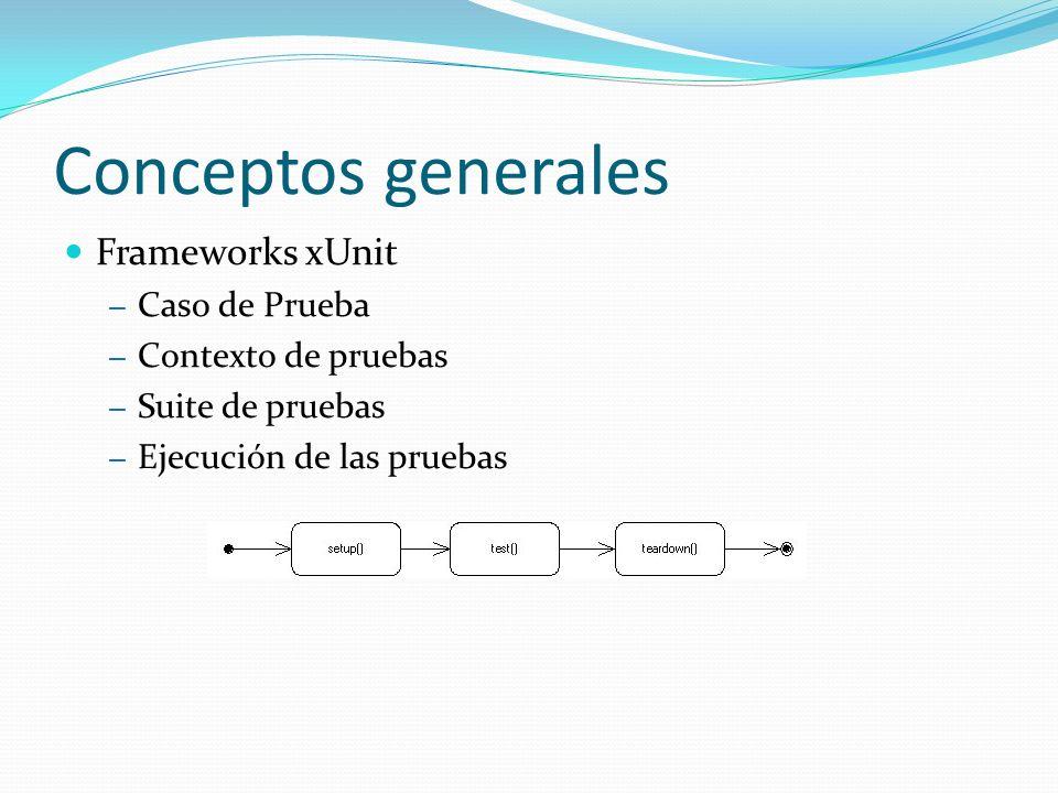 Conceptos generales Frameworks xUnit – Métodos Asserts – Resultados de las pruebas – Verde = Pasa, Rojo = Falla