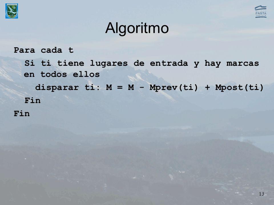 13 Algoritmo Para cada t Si ti tiene lugares de entrada y hay marcas en todos ellos disparar ti: M = M - Mprev(ti) + Mpost(ti) Fin