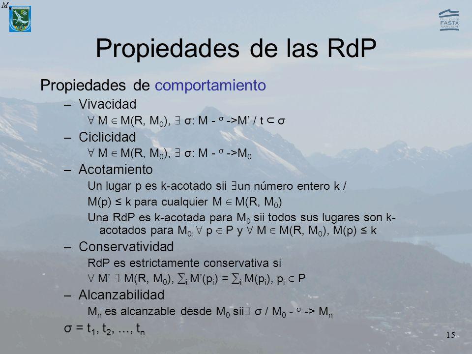 15 Propiedades de las RdP Propiedades de comportamiento –Vivacidad M M(R, M 0 ), σ: M - σ ->M / t σ –Ciclicidad M M(R, M 0 ), σ: M - σ ->M 0 –Acotamie