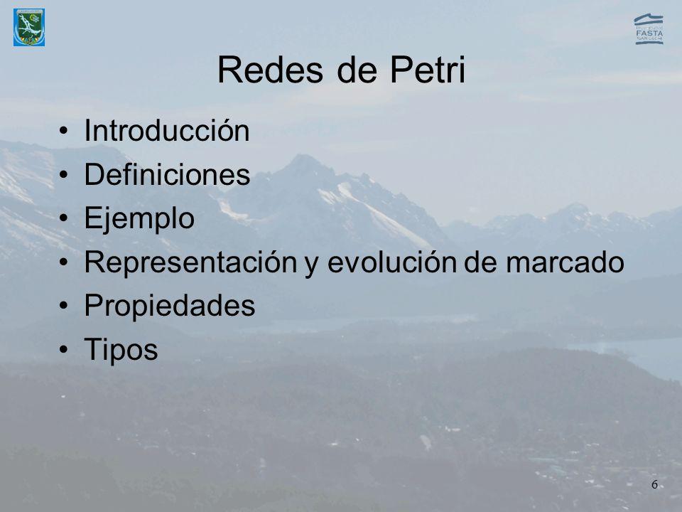 6 Redes de Petri Introducción Definiciones Ejemplo Representación y evolución de marcado Propiedades Tipos
