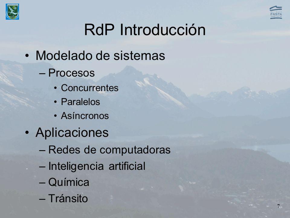 7 RdP Introducción Modelado de sistemas –Procesos Concurrentes Paralelos Asíncronos Aplicaciones –Redes de computadoras –Inteligencia artificial –Quím