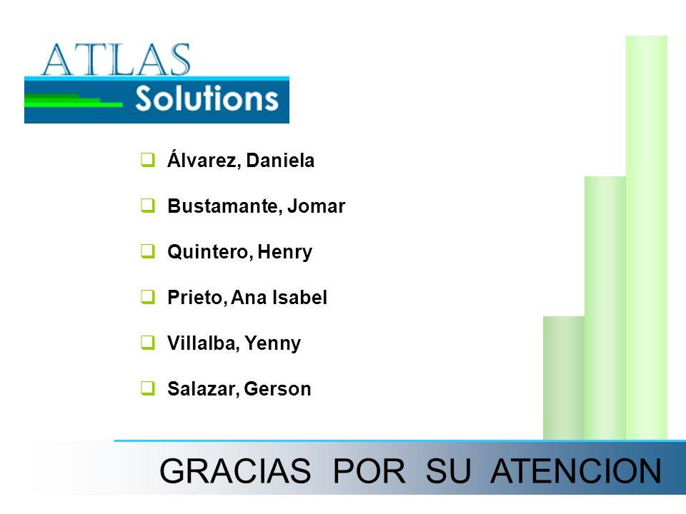 GRACIAS POR SU ATENCION Álvarez, Daniela Bustamante, Jomar Quintero, Henry Prieto, Ana Isabel Villalba, Yenny Salazar, Gerson