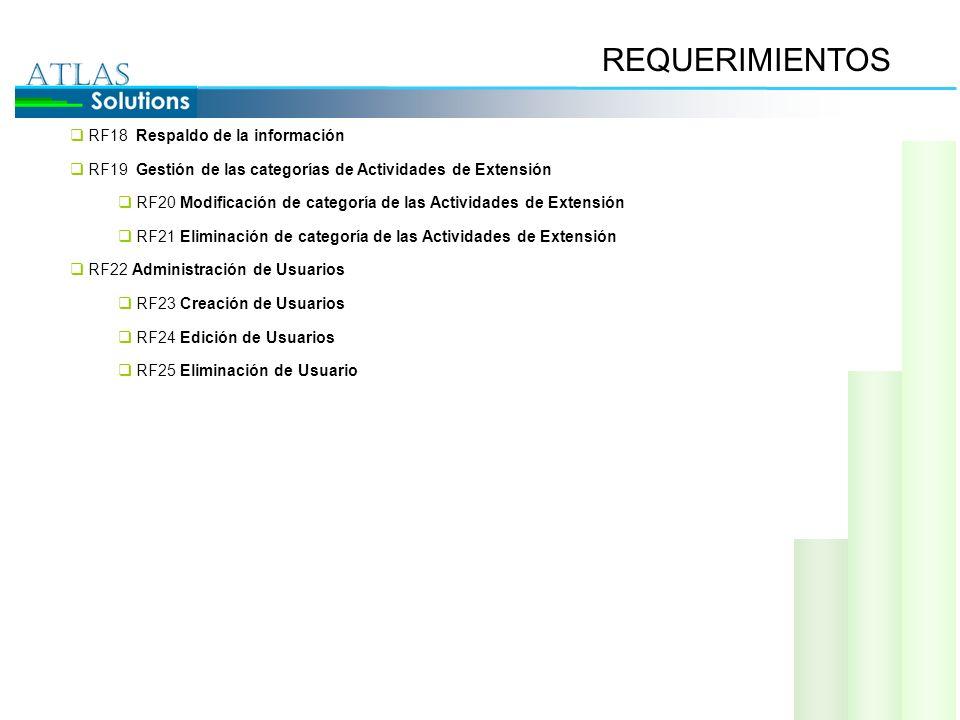 REQUERIMIENTOS RF18 Respaldo de la información RF19 Gestión de las categorías de Actividades de Extensión RF20 Modificación de categoría de las Activi