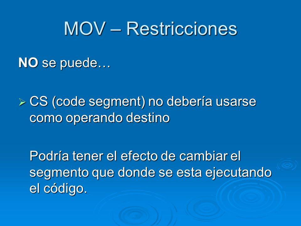 MOV – Restricciones NO se puede… CS (code segment) no debería usarse como operando destino CS (code segment) no debería usarse como operando destino P