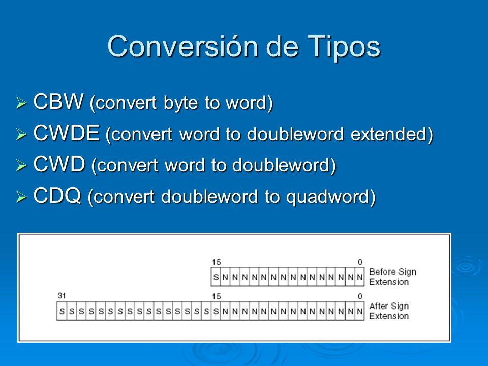 Conversión de Tipos CBW (convert byte to word) CBW (convert byte to word) CWDE (convert word to doubleword extended) CWDE (convert word to doubleword