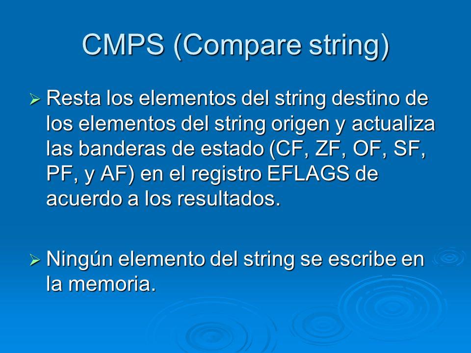 CMPS (Compare string) Resta los elementos del string destino de los elementos del string origen y actualiza las banderas de estado (CF, ZF, OF, SF, PF