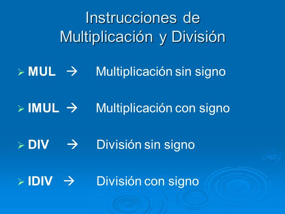 Instrucciones de Multiplicación y División MUL Multiplicación sin signo IMUL Multiplicación con signo DIV División sin signo IDIV División con signo