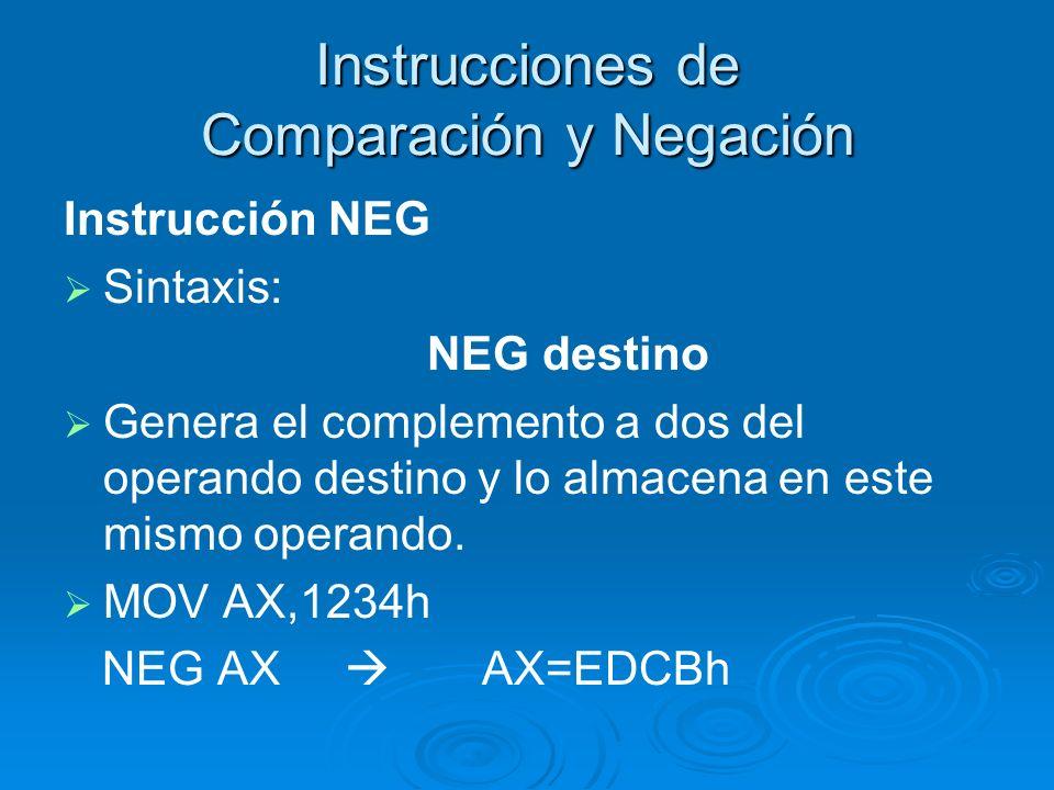 Instrucciones de Comparación y Negación Instrucción NEG Sintaxis: NEG destino Genera el complemento a dos del operando destino y lo almacena en este m