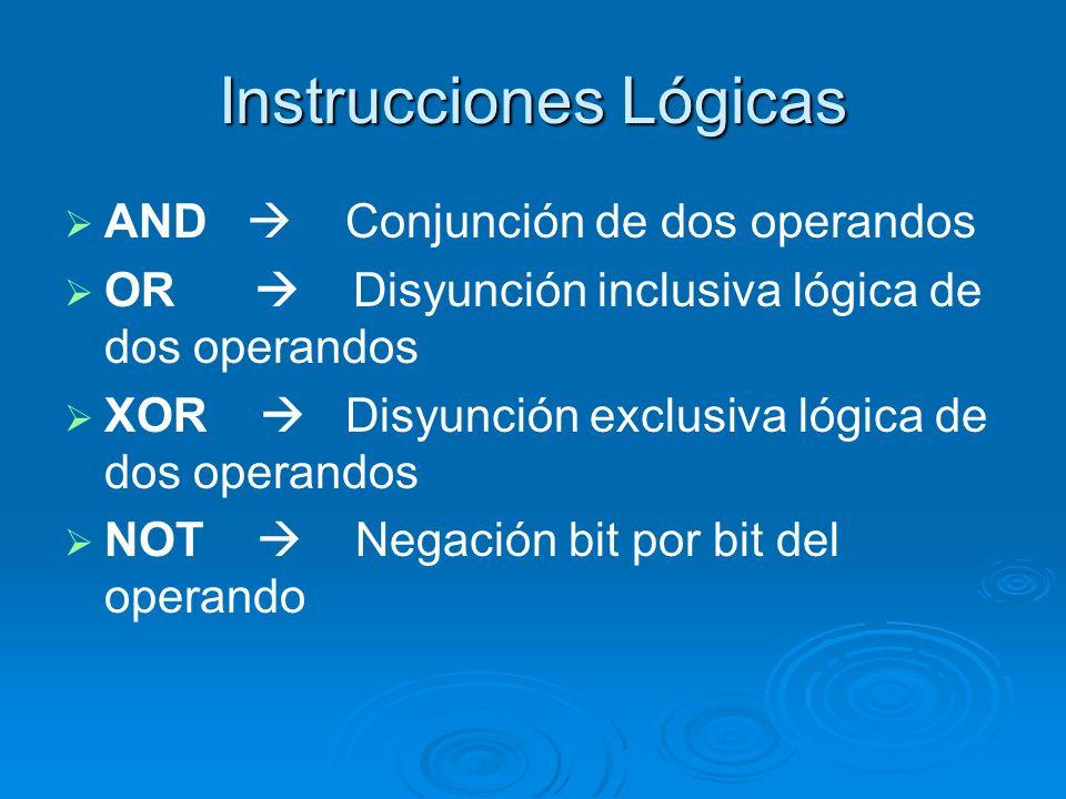 Instrucciones Lógicas AND Conjunción de dos operandos OR Disyunción inclusiva lógica de dos operandos XOR Disyunción exclusiva lógica de dos operandos