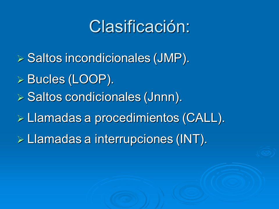Clasificación: Saltos incondicionales (JMP). Saltos incondicionales (JMP). Bucles (LOOP). Bucles (LOOP). Saltos condicionales (Jnnn). Saltos condicion