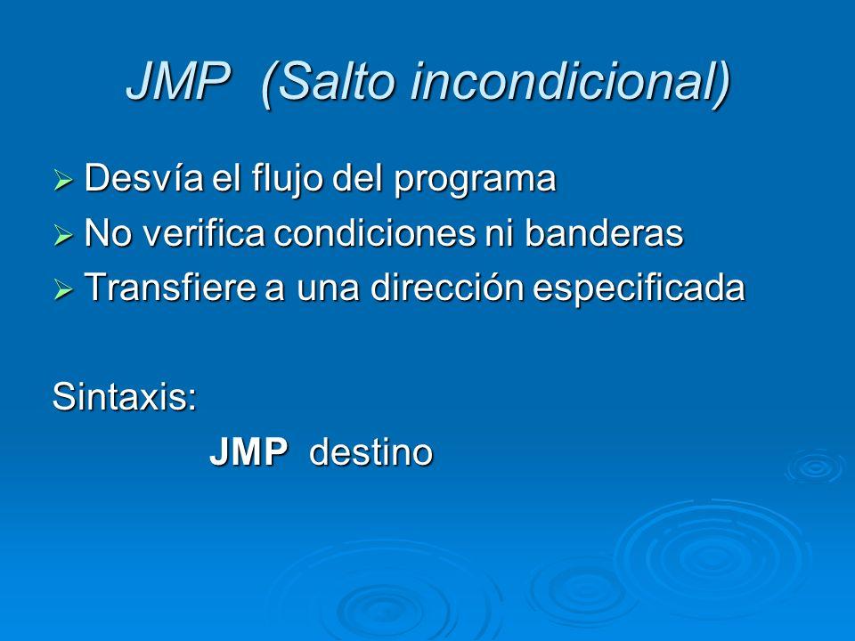 Tipos de Salto Incondicional Ej: ; porción de código Inicio: Inicio: JMP Ejemplo JMP Ejemplo MOV cx,7 MOV cx,7 Ejemplo: Ejemplo: MOV cx,6 MOV cx,6 ; continúa código ; continúa código