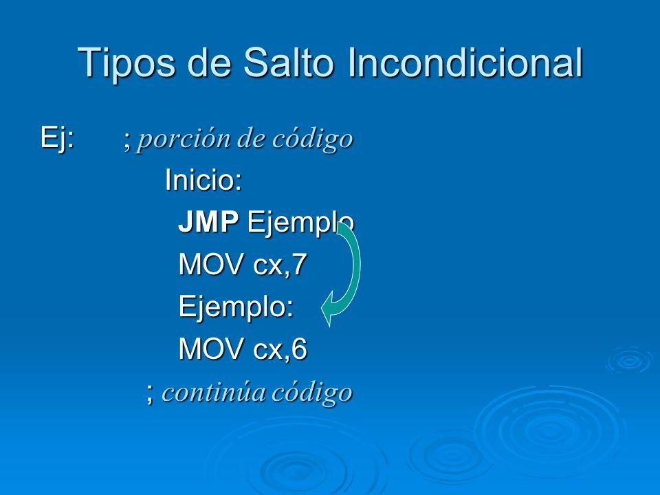 Tipos de Salto Incondicional Ej: ; porción de código Inicio: Inicio: JMP Ejemplo JMP Ejemplo MOV cx,7 MOV cx,7 Ejemplo: Ejemplo: MOV cx,6 MOV cx,6 ; c