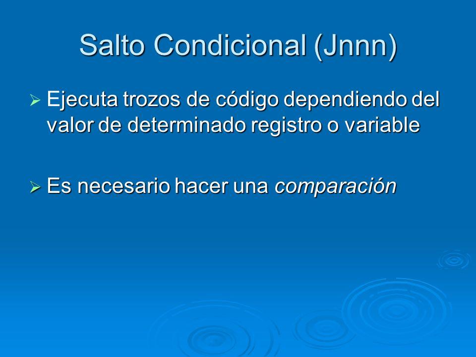 Salto Condicional (Jnnn) jecuta trozos de código dependiendo del valor de determinado registro o variable Ejecuta trozos de código dependiendo del val